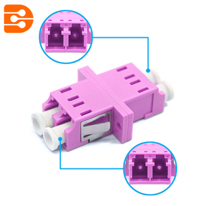 LC/PC OM4 Multimode Duplex Adapter with Flange